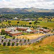 An aerial view of the campus in the Mt. Diablo foothills